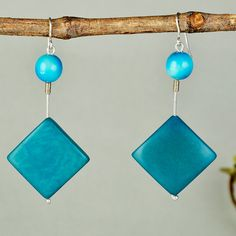 Turquoise tagua earrings turquoise bead by ColorLatinoJewelry
