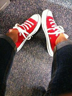 Red #Converse #Chucks Chuck Taylor low-tops; #tennis shoes; #trainers