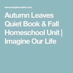 Autumn Leaves Quiet Book & Fall Homeschool Unit | Imagine Our Life