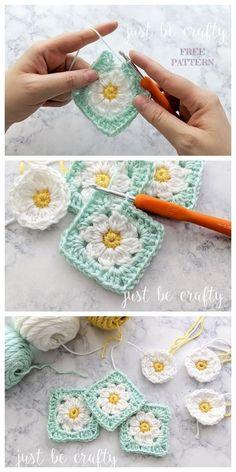 Crochet Blocks, Granny Square Crochet Pattern, Crochet Squares, Crochet Blanket Patterns, Crochet Motif, Crochet Designs, Crochet Stitches, Knitting Patterns, Granny Square Tutorial