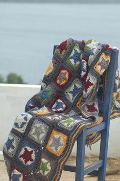 Contemporary crocheted granny square afgan