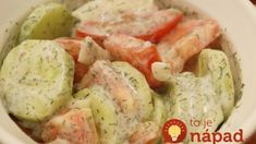 German Cucumber Salad Recipe Ingredients ½ cup sour cream or plain yogurt 1 cucumber 1 medium to large tomato 2 slices onion (slice like you would for onion rings) tsp lemon juice ½ - ¾ tsp dill Pinch of salt New Recipes, Salad Recipes, Cooking Recipes, Favorite Recipes, Healthy Recipes, Yummy Recipes, Recipies, German Recipes, Cooking Ideas