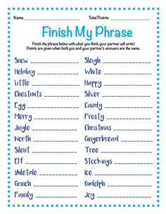 easy recipes - Finish My Phrase Finish The Phrase Christmas Scattergories Christmas Party Games Holiday Party Games Xmas Games, Holiday Games, Holiday Parties, Holiday Fun, Fun Games, Word Games, Christmas Trivia Games, Holiday Trivia, Batman Party
