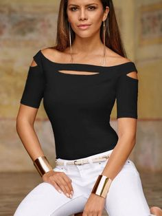 Women Solid Cutout Off Shoulder Short Sleeve Sexy T Shirt – … – Women's Style Shirts & Tops, Casual T Shirts, Tee Shirts, Shirt Bluse, Cute Tops, Shirt Style, Shirt Designs, T Shirts For Women, Womens Fashion