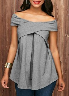 16c900141 Off the Shoulder Pleated Grey Marl Blouse | Rosewe.com - USD $30.03 Latest  Tops