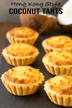 My take on the delicious Hong Kong style coconut tarts. The pastry is super flaky. The filling is mostly coconut (yum!) and it's not overly sweet. Tart Recipes, Pastry Recipes, Cheesecake Recipes, Baking Recipes, Dessert Recipes, Asian Desserts, Sweet Desserts, Just Desserts, Sweet Pie