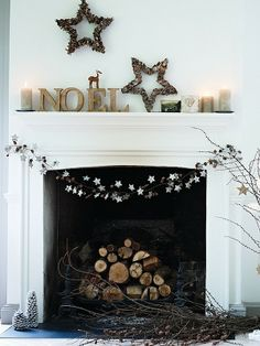 Christmas Mantle Decoration Ideas, Creative Xmas Rustic Christmas fireplace mantel decoration for 2013