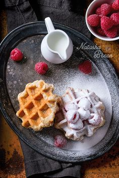 ~~Belgian Waffles with Raspberries and Powdered Sugar | food photography, food styling | by Natasha Breen~~