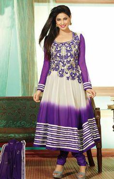 USD 102.87 Purple Resham Work Faux Georgette Anarkali Suit 27613