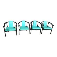 A beautiful set of 4 rare vintage Kodawood horseshoe chairs. Sturdy and well crafted, they feature turquoise vinyl seats that have some splitting . Side Chairs, Dining Chairs, Vintage Furniture For Sale, Wood Vinyl, Mid Century Furniture, Home Furniture, Design, Decor, Decoration