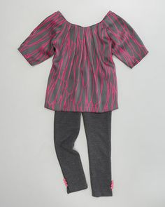 Stella Scribble Tunic & Button Leggings by Milly Minis at Neiman Marcus.