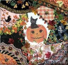 Cross Stitch Patterns by designer Pamela Kellogg Cross Stitch, Crazy Quilting and Embroidery Crazy Quilt Stitches, Crazy Quilt Blocks, Patch Quilt, Quilt Block Patterns, Pattern Blocks, Crazy Quilting, Quilt Pillow, Halloween Quilt Fabric, Halloween Embroidery