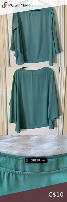 SHEIN long sleeve flutter top Good used condition SHEIN Tops Blouses Plus Fashion, Fashion Tips, Fashion Trends, Blouses, Long Sleeve, Sleeves, Outfits, Things To Sell, Tops