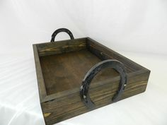Handmade wedding sand box tray, perfect for holding place cards, or place card holders at your beach themed event or wedding. This is an stained wood sand box tray with rustic horse shoes as handles D