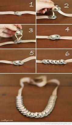 Tutorial manualidades regalar, pulsera hecha con arandelas y raso