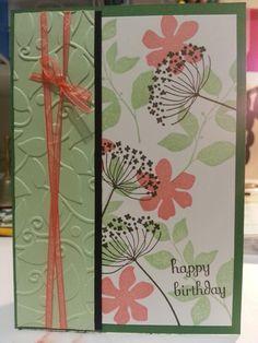 Female birthday card using Summer Silhouette stampin up, pistachio pudding, crisp cantaloupe, always artichoke inks.