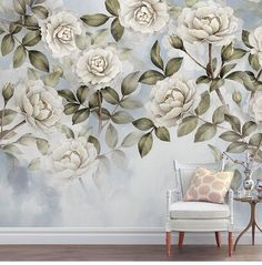 American Countryside Style Floral Wall Stickers, Camellia with Leaves Wall Decals, Bedroom/Living Room Wall Murals Wall Wallpaper, Countryside Style, Vintage Floral Wallpapers, Floral Wall Sticker, Wall Murals, Bedroom Wall Art, Floral Bedroom, Floral Wallpaper, Tree Wall Art
