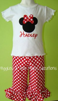 Custom Boutique Ruffle Capri Minnie Outfit by pigglesnsmc on Etsy, $44.00