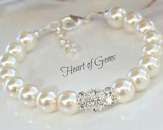 Perla y pulsera de cristal Swarovski por HeartofGems en Etsy