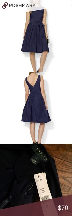 """Lauren Ralph Lauren Sleeveless Taffeta Dress Size 8. """"Lighthouse"""" Navy Blue. NEW with Tags. Material: polyester/elastane. Round neck. Crossover v back. Sleeveless. Concealed center back zip with hook-and-eye closure at the skirt. Faux-wrap silhouette at the back with self-tie taffeta sash at the front. Soft pressed pleats at the skirt. Wide double-faced banded hem Falls 23"""" from natural waist. Dry clean. Lauren Ralph Lauren Dresses Midi"""