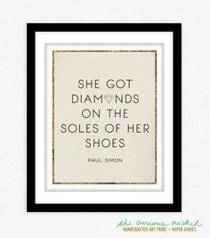 Paul Simon Lyrics - Diamonds on the Soles of her Shoes - Poster Print Wall Art - Typography Lyrics Art Print