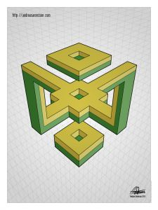 While What they do though is add spacial illusions, as in they line up with both the center frame and … Isometric Shapes, Isometric Drawing, Illusion Drawings, Illusion Art, Geometry Art, Sacred Geometry, Impossible Shapes, Art Cube, Graph Paper Art