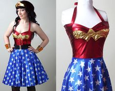 .I just want this, just because! retro Wonder Woman dress custom  smarmyclothes  by smarmyclothes, $155.00