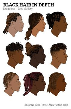 "misselaney: ""How to draw Dreadlocs! See Part One. misselaney: ""How to draw Dreadlocs! See Part One: Rendering Natural Black Hair Coming Up Next: VOTE by sending to my Ask box! Black Men Haircuts, Black Men Hairstyles, Female Hairstyles, Character Inspiration, Character Art, Character Design, Hair Reference, Drawing Reference, Design Reference"