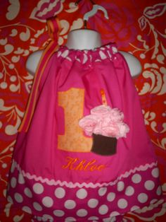 Pinkalicious Cupcake Birthday Party Pillowcase Dress with ORANGE accents custom personalized 9 months to 4 toddler. $29.99, via Etsy.