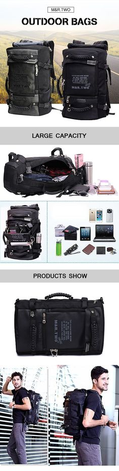 MRTWO Men Large Capacity Backpack Sport Travel Outdoor Bags Rucksack