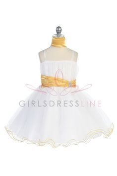 Yellow accented waistband Mini tulle flower girl dress G3018Y $49.95 on www.GirlsDressLine.Com