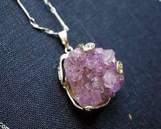Chunky Amethyst Necklace Druzy Amethyst Cluster Drusy Stone Crown Chakra