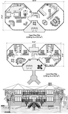 , 6 Bedrooms, 4 Baths, Two-Story Piling Collection by Topsider Homes Round House Plans, House Floor Plans, 6 Bedroom House Plans, House Design Drawing, Octagon House, Hotel Floor Plan, Restaurant Plan, Dome House, House Blueprints