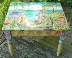 Cute tropical table painted by Sissi Janku