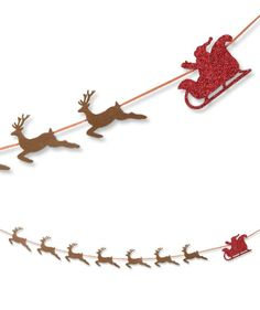 Santa & Reindeer Garland | Glittered Santa and His Sleigh Garland | Bethany Lowe Christmas Collection
