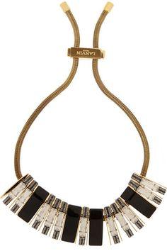 Lanvin | Victoria gold-tone, Swarovski crystal and resin necklace | NET-A-PORTER.COM