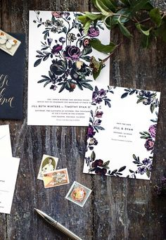 Beautiful save the date card! dark, romantic floral wedding invitations and save the dates Botanical Wedding Invitations, Floral Invitation, Floral Wedding Invitations, Wedding Stationary, Invitation Design, Stationary Set, Invitation Suite, Invite, Wedding Themes