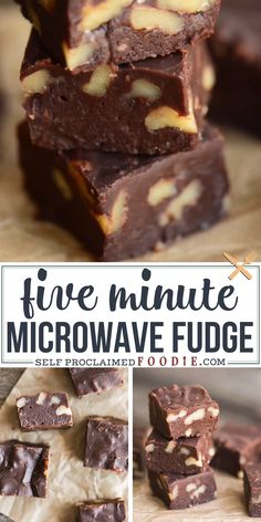 Five Minute Microwave Fudge is a quick and sinfully delicious homemade fudge recipe. This easy fudge will become a holiday favorite! desserts, FIVE MINUTE MICROWAVE FUDGE Dessert Dips, Bon Dessert, Easy Recipes For Desserts, Easy Christmas Recipes, Easy Homemade Desserts, Cake Recipes, Christmas Cooking, Desert Recipes, Holiday Recipes