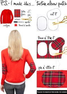 DIY Clothes DIY Refashion DIY Clothes Refashion: DIY Tartan Elbow patch