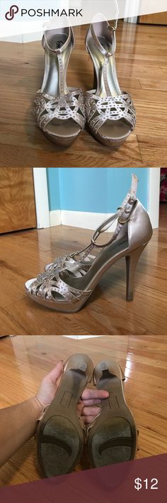 Satin prom shoes High heel shoes. Satin with jewels on top. Worn once but have grass stains on heel Shoes Heels