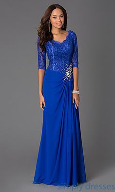 Shop long lace dresses with V-necks and 3/4 sleeves at SimplyDresses. Floor length prom gowns with lace for formal celebrations or parties.