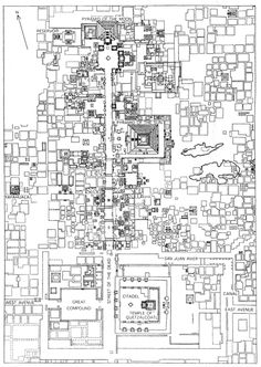 Partial map of TEOTIHUACAN, MEXICO (center of ancient city), by Millon, Drewitt and Cowgil.