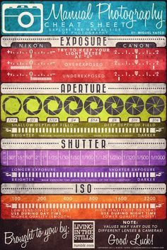 Cheat Sheets for Photography Follow me!!! I pin stuff like this daily!