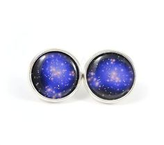 Galaxy Earrings - Space Jewelry - Black Purple Earrings - Nebula Space Jewelry - Free Worldwide Shipping - Under 25