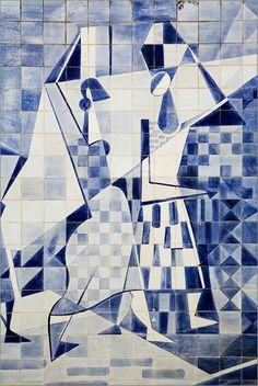Detail of Roberto Burle Marx Tile Design at the Olavo Redig de Campos 'Casa Moreira Salles'. Rio de Janeiro, Brazil