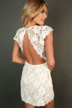 queenu0027s lace mini dress in white