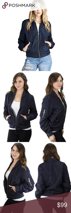 Zip Front Snap Pocket Bomber Jacket Navy Cute and stylish, this lightweight, warm bomber jacket is the perfect casual chic piece. Snap closure front pockets and zipper details on the sleeves. Zip front closure.  Available in black, olive, navy, and sand beige.  ❌ Sorry, no trades.  fairlygirly fairlygirly Jackets & Coats Utility Jackets