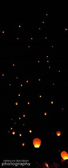 Cayman Islands Wedding Lantern release in the Caribbean night sky