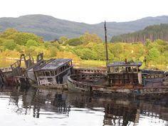 Old boats in Salen bay, Isle of Mull, Scotland.