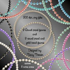 Round Pearl and Gold Frames - $1.99  DELIGHTFUL-DOODLES.COM  Designer and crafting resources.